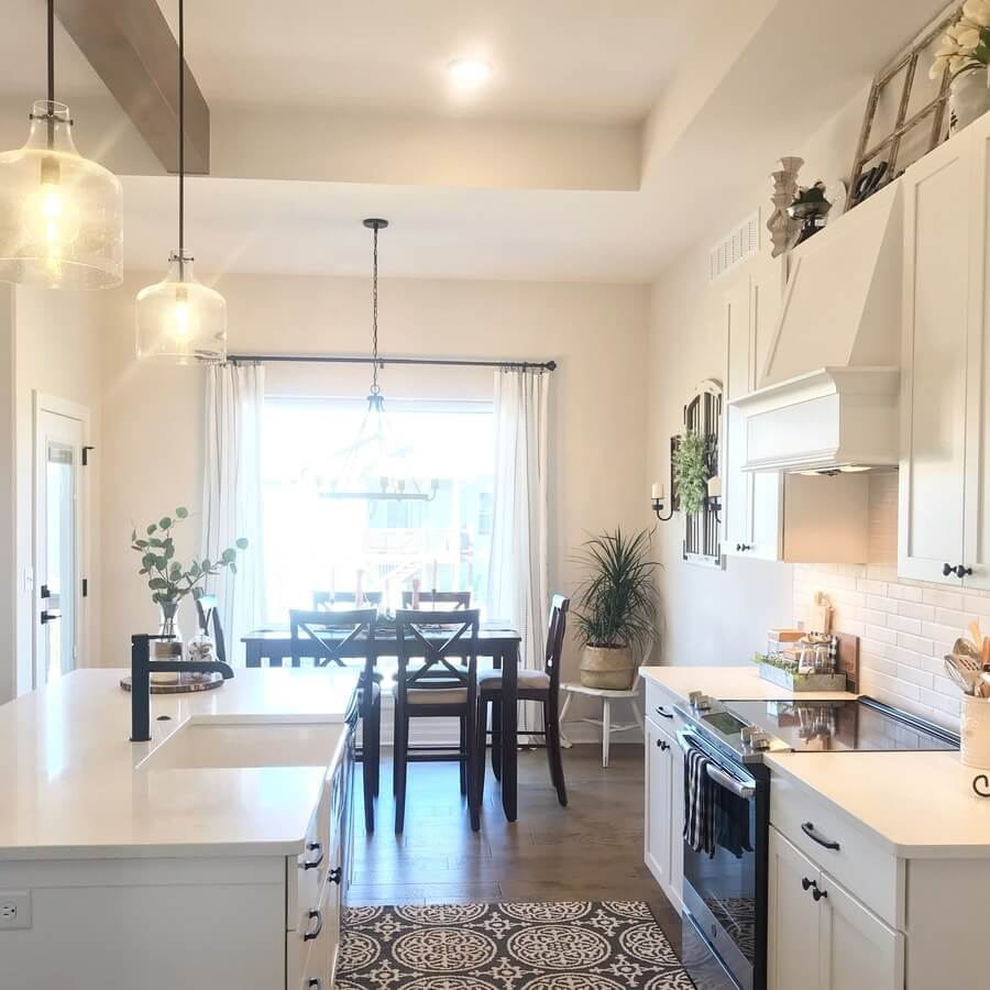 Farmhouse Kitchen White Cabinets And Black Hardware Leave Your Footprints